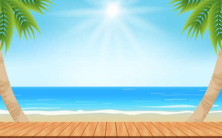 wooden table and palm tree on the beach in the summer