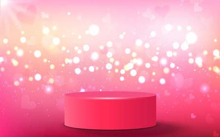 pink podium with colorful light in studio room Illusztráció
