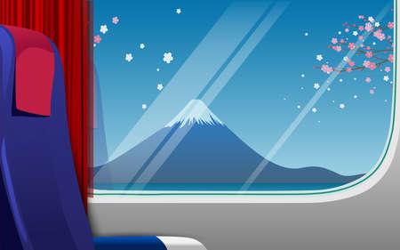 landscape of fuji mountain in the train