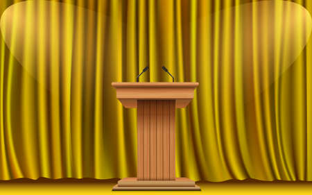 wooden announcement podium and gold curtain on the stage Stock fotó