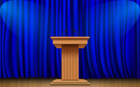 wooden announcement podium and blue curtain on the stage Stock fotó