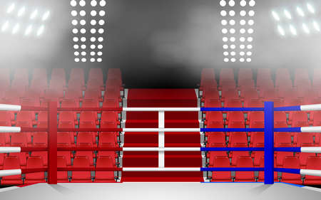 Boxing ring with spotlight and red seat in the hall Stock fotó