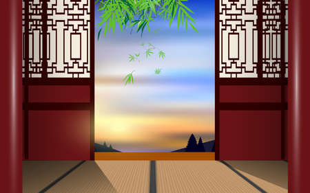 wooden windows in the wooden house on the mountain in the morning in china Ilustração