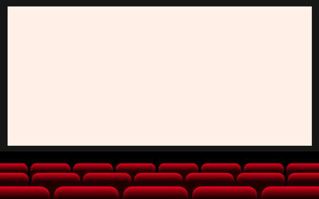 white cinema screen and red seats in the hall