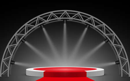 white podium and red carpet with spotlight on truss system Ilustrace