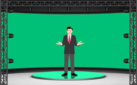 broadcaster on the white stand with green screen in lcd background in the news studio room Ilustrace