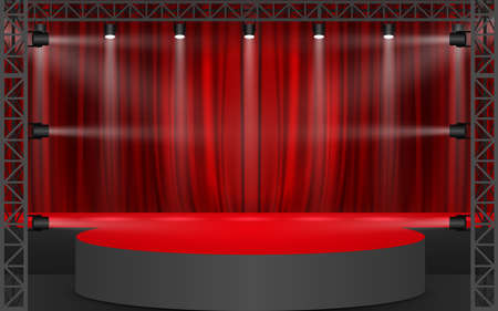 red curtain with spotlight on the truss system on the red stage Reklamní fotografie