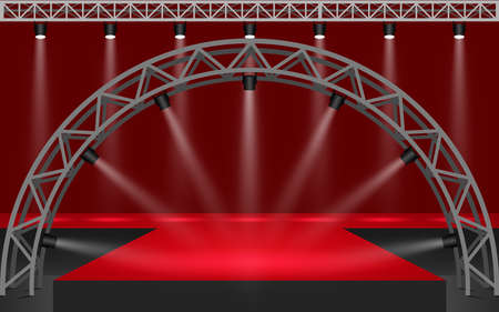 red stage with spotlight on the truss system in the hall