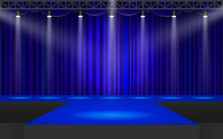 blue stage with spotlight on the truss system in the hall Reklamní fotografie