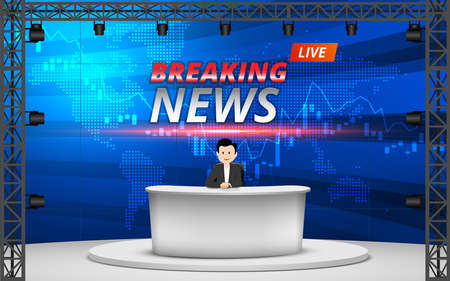 white table and breaking news on lcds background in the news studio room Reklamní fotografie