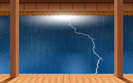 landscape of wooden house in the rain day