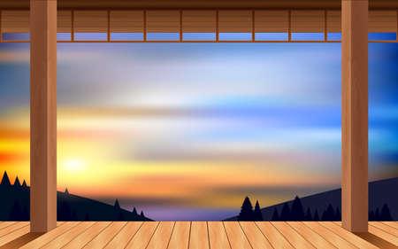landscape of wooden house on the mountain in morning Reklamní fotografie