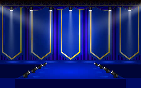 blue stage with spotlight on the truss system in the hall Фото со стока