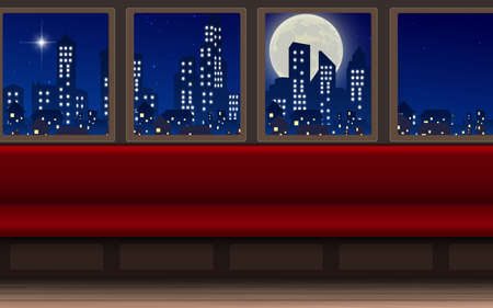 landscape of city in the train in the night