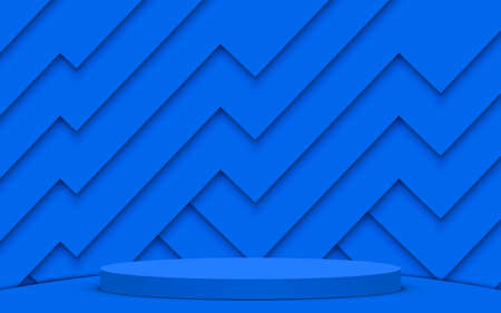 blue podium with pink paper background in the studio room