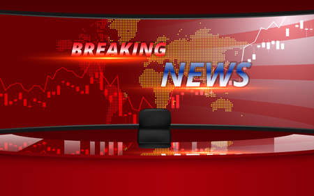 red table with breaking news on led screen background in the news studio room Иллюстрация