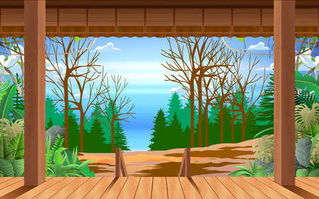 landscape of forest at the wooden house in day time