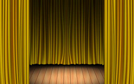 gold curtain and light of spotlight on the wooden floor in the dark room