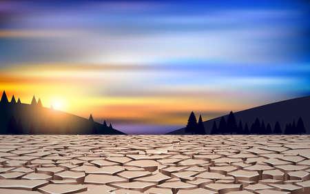 landscape of dry soil in the river in the morning Reklamní fotografie