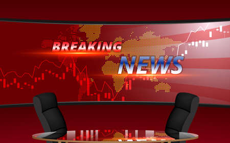 table and chairs with breaking news on led screen background in the news studio room Иллюстрация