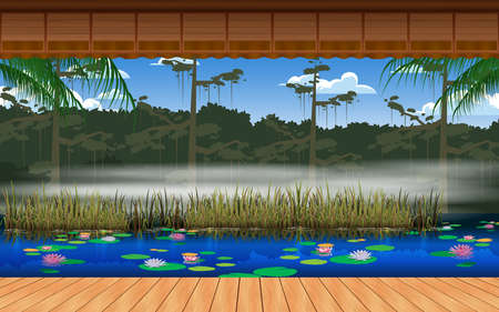 landscape of wooden house at thre river in forest