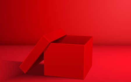 red paper box in the red room