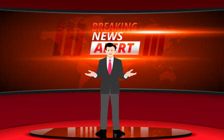 broadcaster on the blue stand with lcd background in the news studio room
