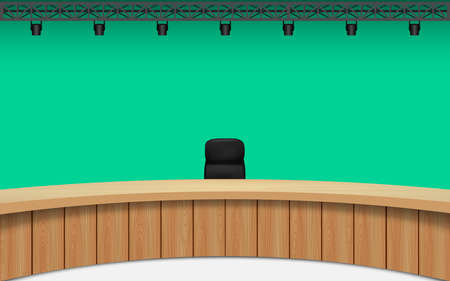 wooden table in news studio room with the green background