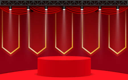 red podium with spotlight in the red room Фото со стока