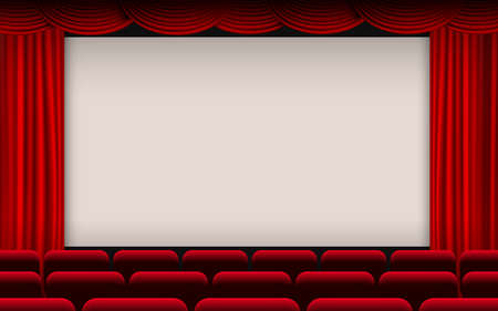 white cinema screen with red curtain and red seats in the hall