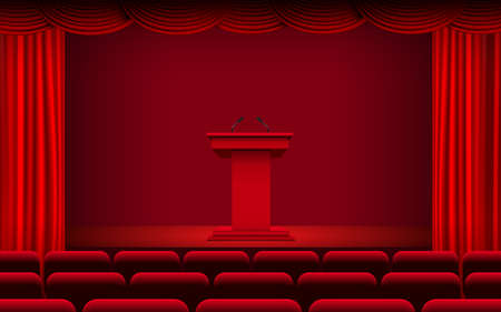 red announcement podium and red curtain on the stage Иллюстрация