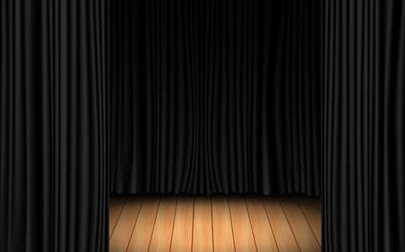 black curtain and light of spotlight on the wooden floor in the dark room Фото со стока
