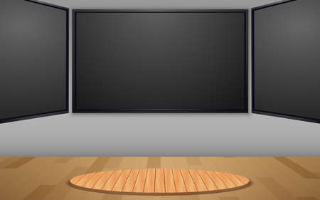 wooden stand and led screen background in the news studio room Иллюстрация