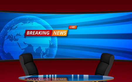 table and chairs with breaking news live on led screen background in the news studio room Фото со стока