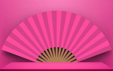 pink fan and table in the pink room