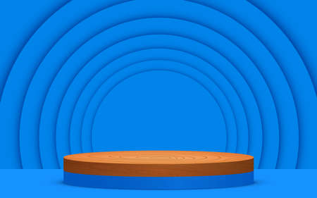blue and wood podium with blue paper background in the studio room Иллюстрация