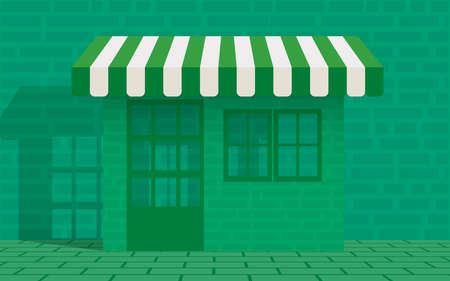 flat green shop on the green green wall Иллюстрация
