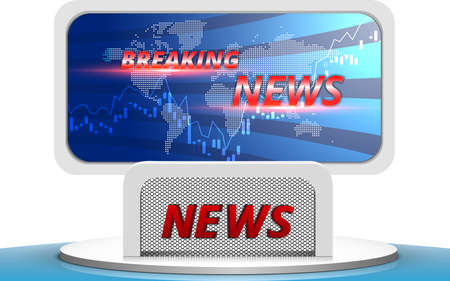 table and chairs with breaking news live on led screen background in the news studio room Иллюстрация
