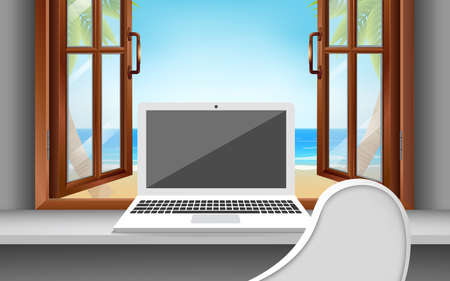 computer on the white desk and white chair in the bungalow in resort in summer