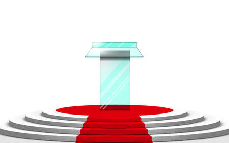 glass announcement podium on the white stage on the white background Иллюстрация
