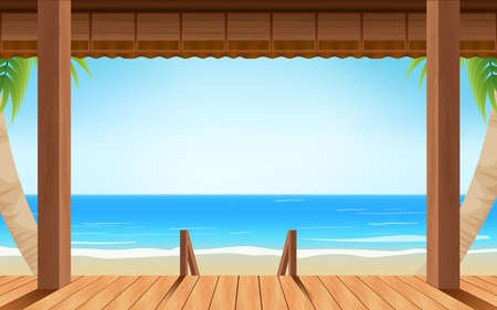 landscape of wooden house on the beach in summer