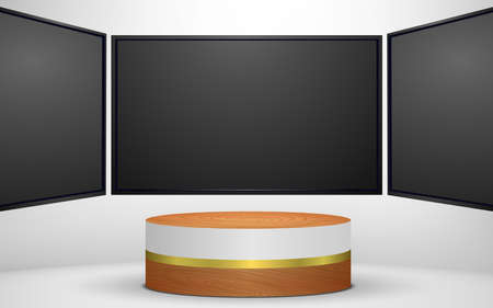 wooden podium and lcd tv background in white studio room