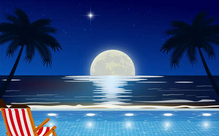 view of outdoor swimming pool on the beach in full moon night