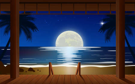 landscape of wooden house on the beach in full moon night