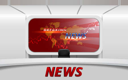 white table with breaking news on led screen background in the news studio room