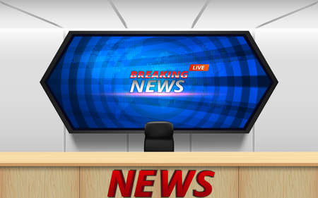 wooden table and breaking news on lcds background in the news studio room