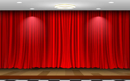 wooden stage and red curtain background in the white room