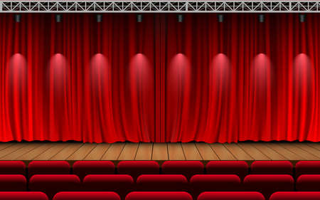 red curtain and light of spotlight on the wooden stage in the hall