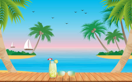 wooden table and palm tree on the beach in the summer Ilustração Vetorial
