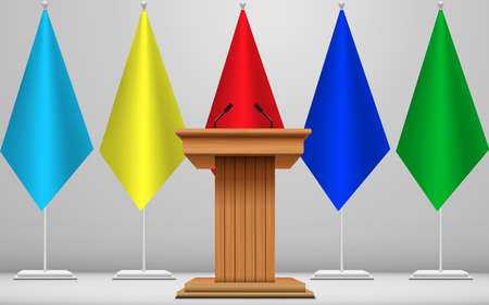 wooden announcement podium and microphone on the colorful flags background